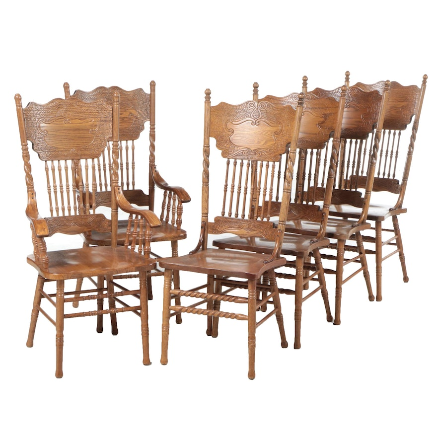 Six United Dynasty Corp. Victorian Style Oak Pressed-Back Dining Chairs