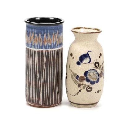 Tonala Mexican Folk Art Pottery Vase with Other Ceramic Vase