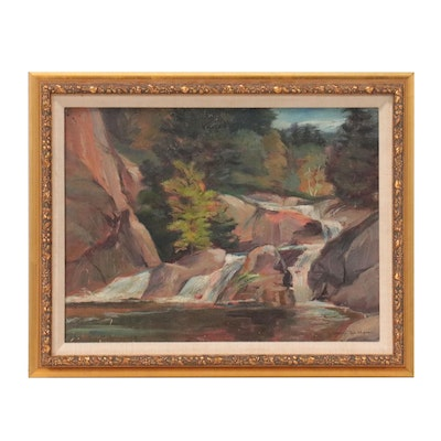 """George Joseph Mess Landscape Oil Painting """"Little Falls,"""" Early-Mid-20th Century"""