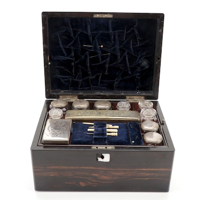 Macassar Ebony Vanity Travelling Case with Hidden Compartment, 19th Century