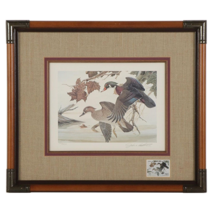 """John A. Ruthven Offset Lithograph With Stamp """"Wood Duck,"""" 1982"""