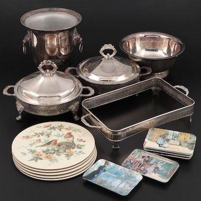 Silver Plate Wine Chiller with Other Silver Plate and Melamine Tableware