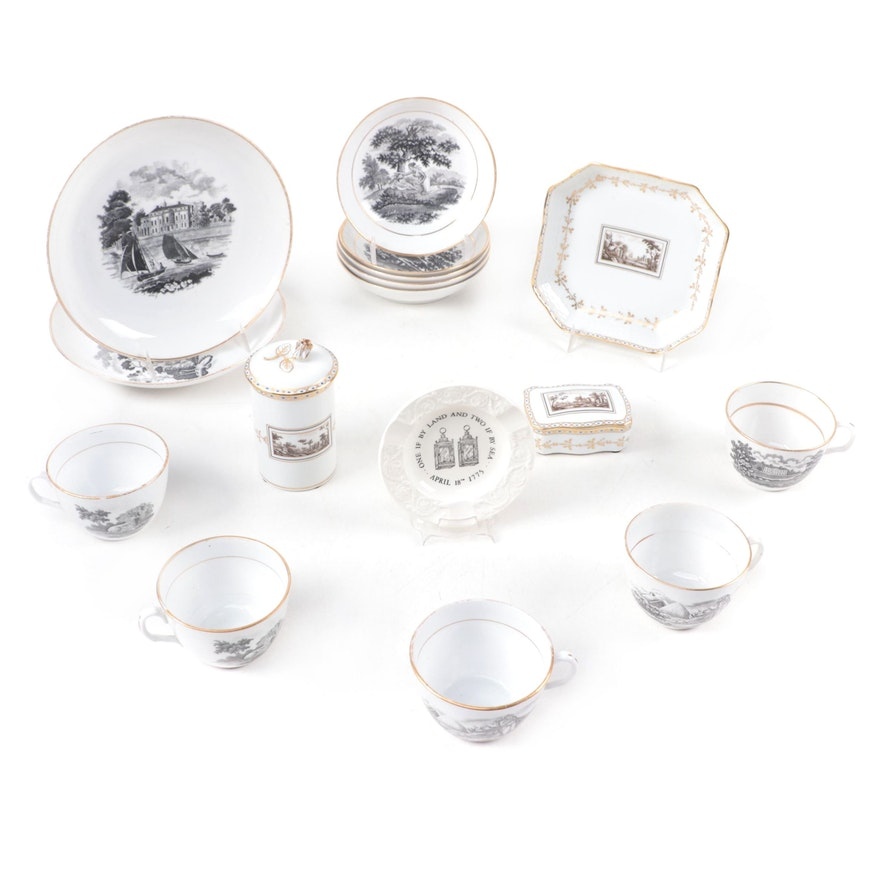 Richard Ginori Porcelain Trinket Boxes and Dish with Other Tableware