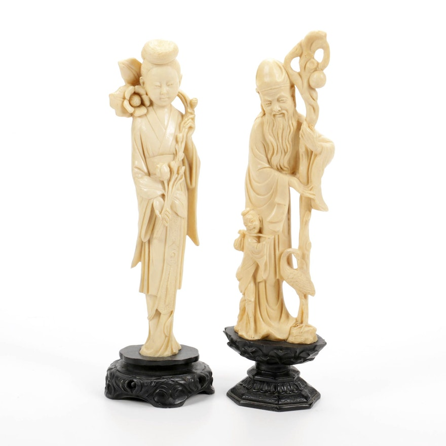 Chinese Resin  Wise Man and Guanyin Figurines, Mid to Late 20th Century