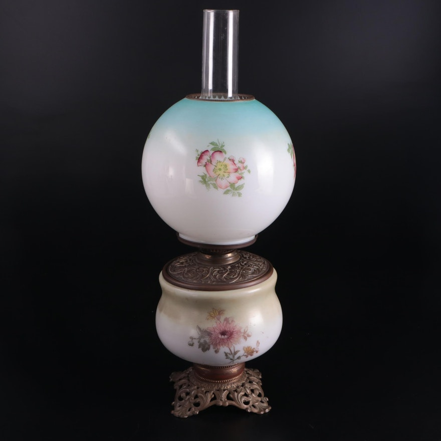 Bradley and Hubbard Milk Glass and Brass Kerosene Parlor Lamp, Late 19th Century