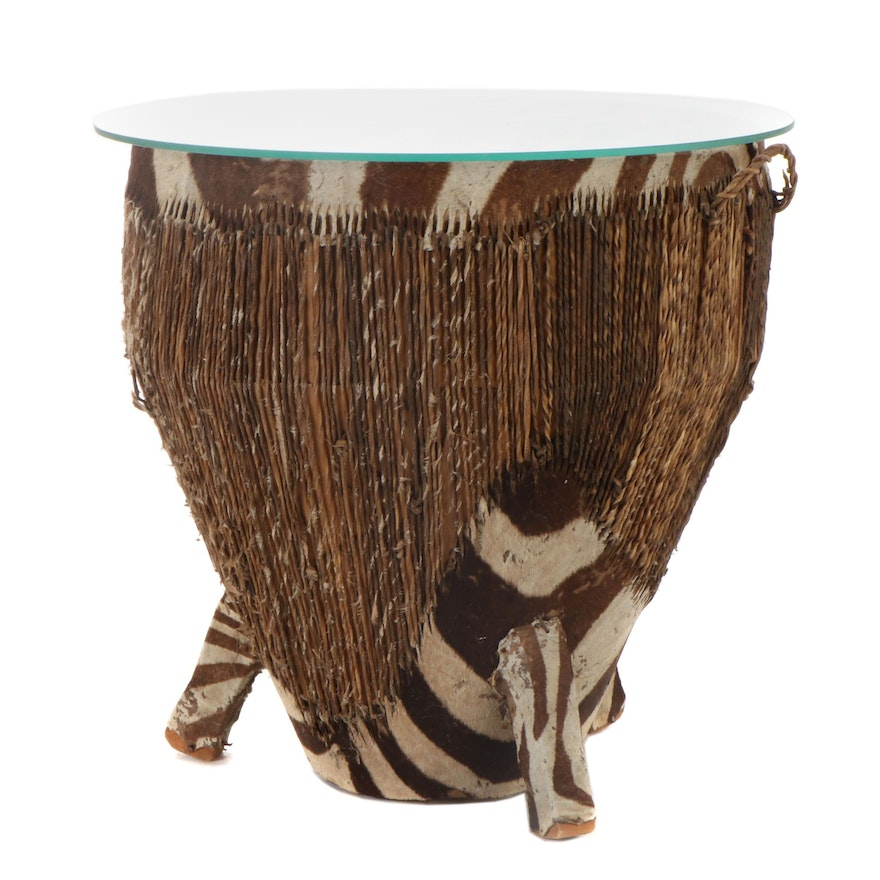 African Zebra Hide Drum Side Table with Glass Top, 1930s