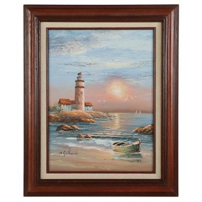 M. Gartland Coastal Scene Oil Painting