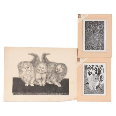 """Feline Themed Lithographs Including """"Trio"""""""