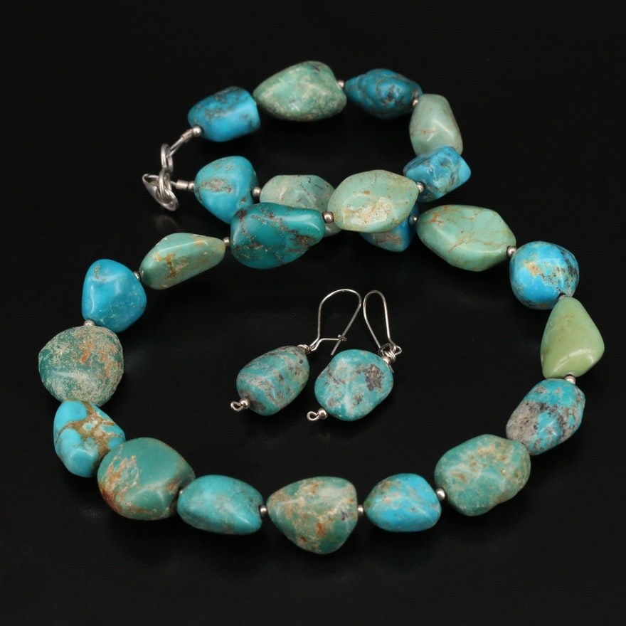 Sterling Turquoise Necklace and Earrings