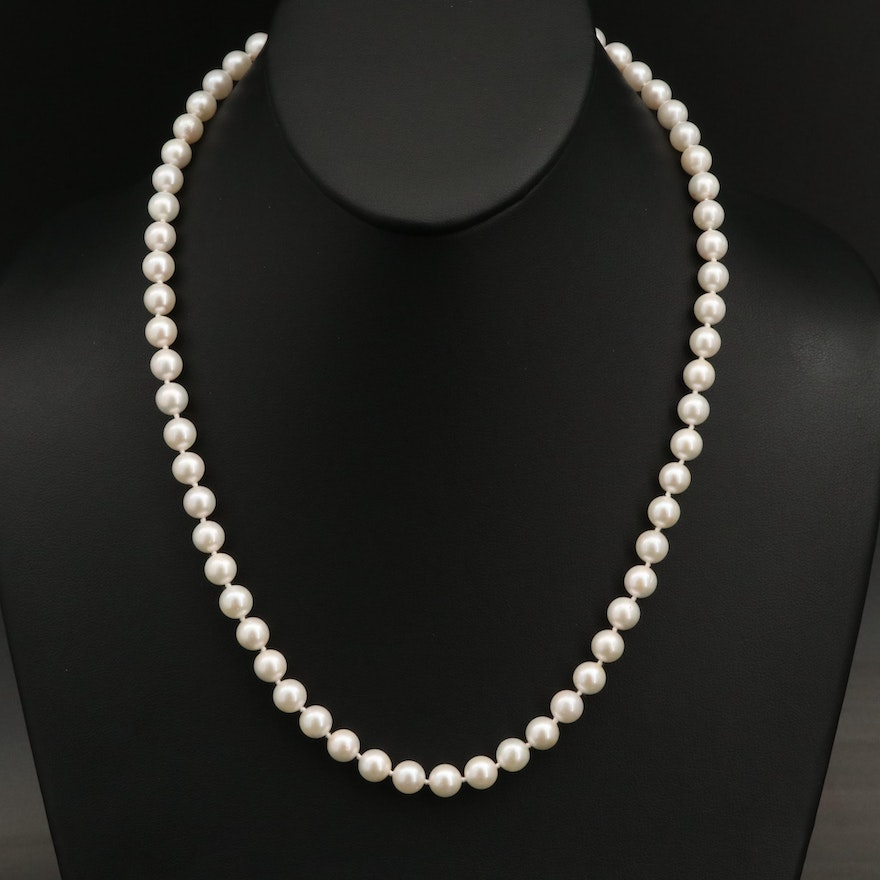 Pearl Princess Length Necklace with 14K Closure