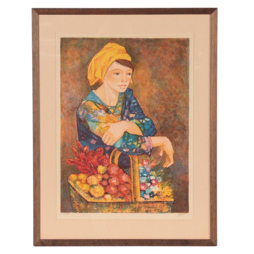 """Gabriel Portoles Color Lithograph """"La Cesta de Flores"""""""