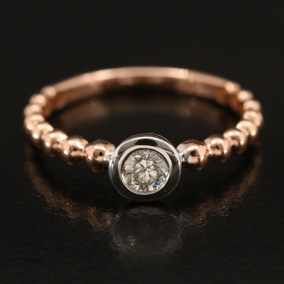 14K Rose Gold 0.23 CT Diamond Solitaire Ring with White Gold Accents