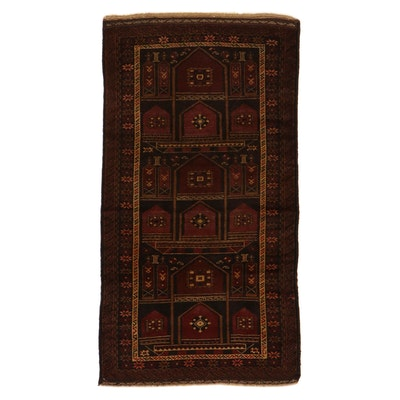 3'4 x 6'2 Hand-Knotted Persian Baluch Rug, 1920s