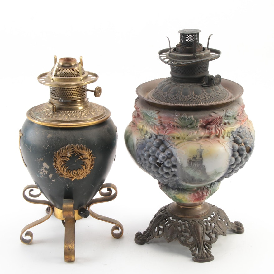 Brass and Glass Converted Oil Lamp and Iron and Glass Kerosene Lamp