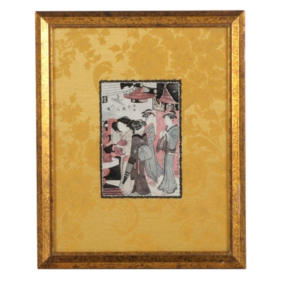 "Offset Lithograph After Torii Kiyonaga ""In Senso-ji Temple,"" Circa 2000"