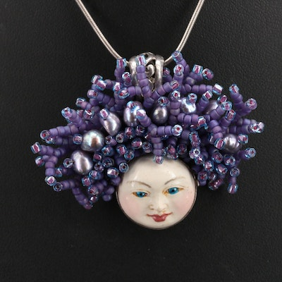 Artist Signed Sterling Painted Visage Pendant on Italian Chain Necklace