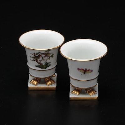 "Herend ""Rothschild Bird"" Hand-Painted Porcelain Clawfoot Urns"