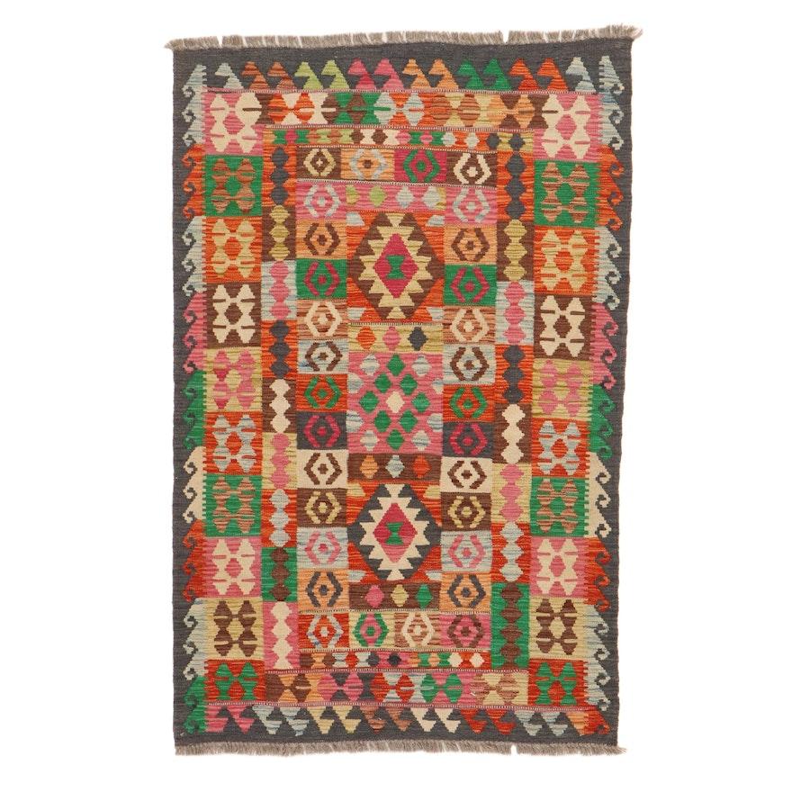 3'5 x 5'5 Handwoven Turkish Caucasian Kilim Rug, 2010s
