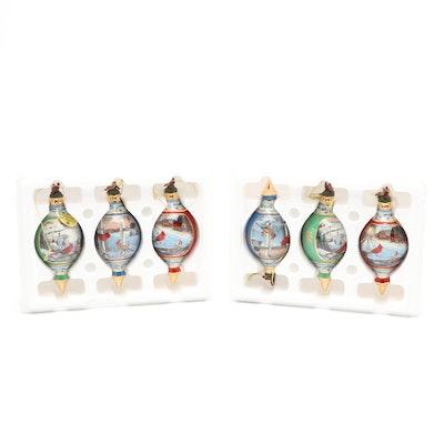 "Bradford Editions ""Pinegrove Cardinals"" Christmas Ornaments, 1990s"