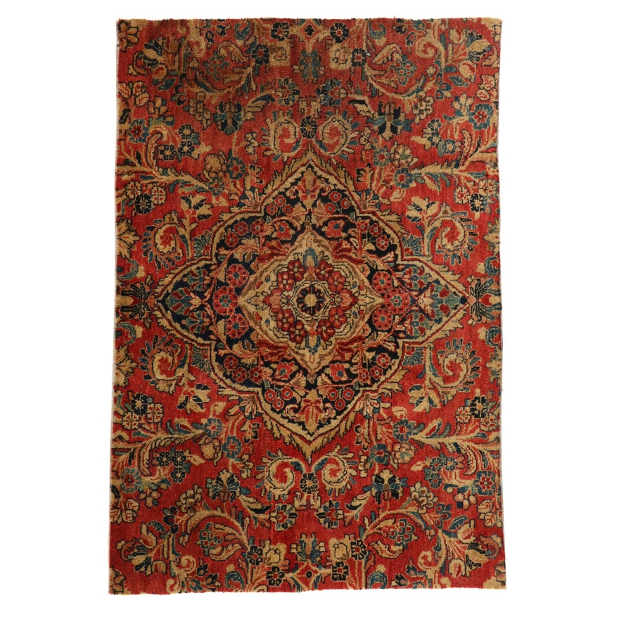 3'5 x 5' Hand-Knotted Persian Sarouk Rug, 1920s