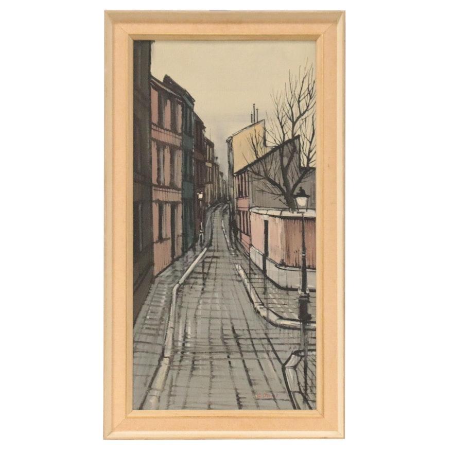 Modernist Street Scene Oil Painting, Mid-20th Century