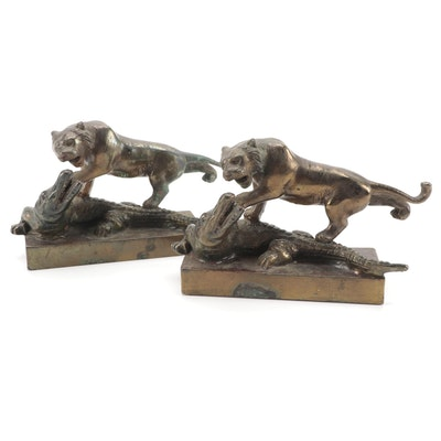 Pompeian Bronze Tiger and Alligator Form Bookends