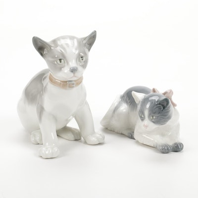 """Nao by Lladró """"Alert Kitten"""" and """"Cat with Bow"""" Porcelain Figurines"""