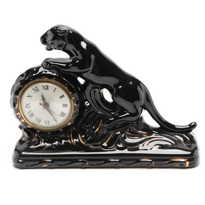 Jaguar Shaped Ceramic Electric Mantel Clock, Late 20th Century
