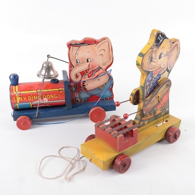 """Fisher-Price Wooden Pull Toys Including """"Jumbo"""" Elephant, Mid-20th Century"""
