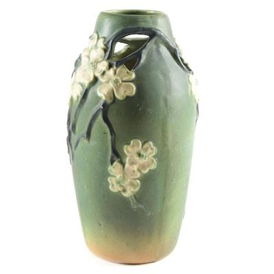 Openwork Dogwood Ceramic Vase, Mid-20th Century
