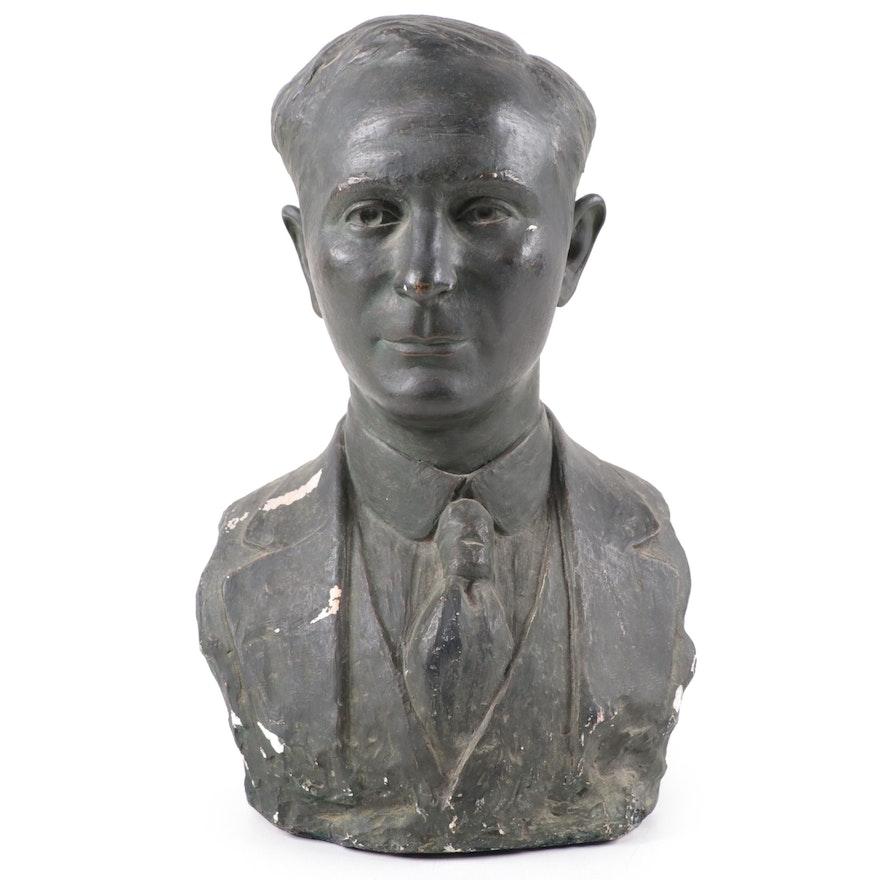 Arthur Ivone Ceramic Bust of Man, 1921