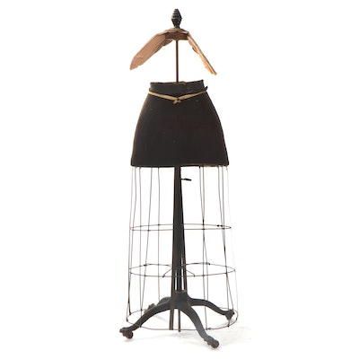 Wire and Composite Skirt Form on Stand with Casters, Early 20th C.