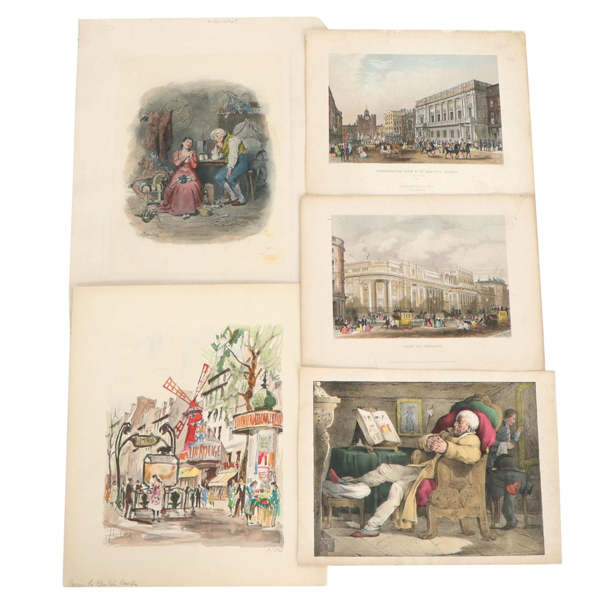 London Street Scene Hand-Colored Engravings and More