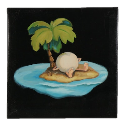 Nicolette Capuano Acrylic Painting of Cue Ball Stranded on Island, 2010