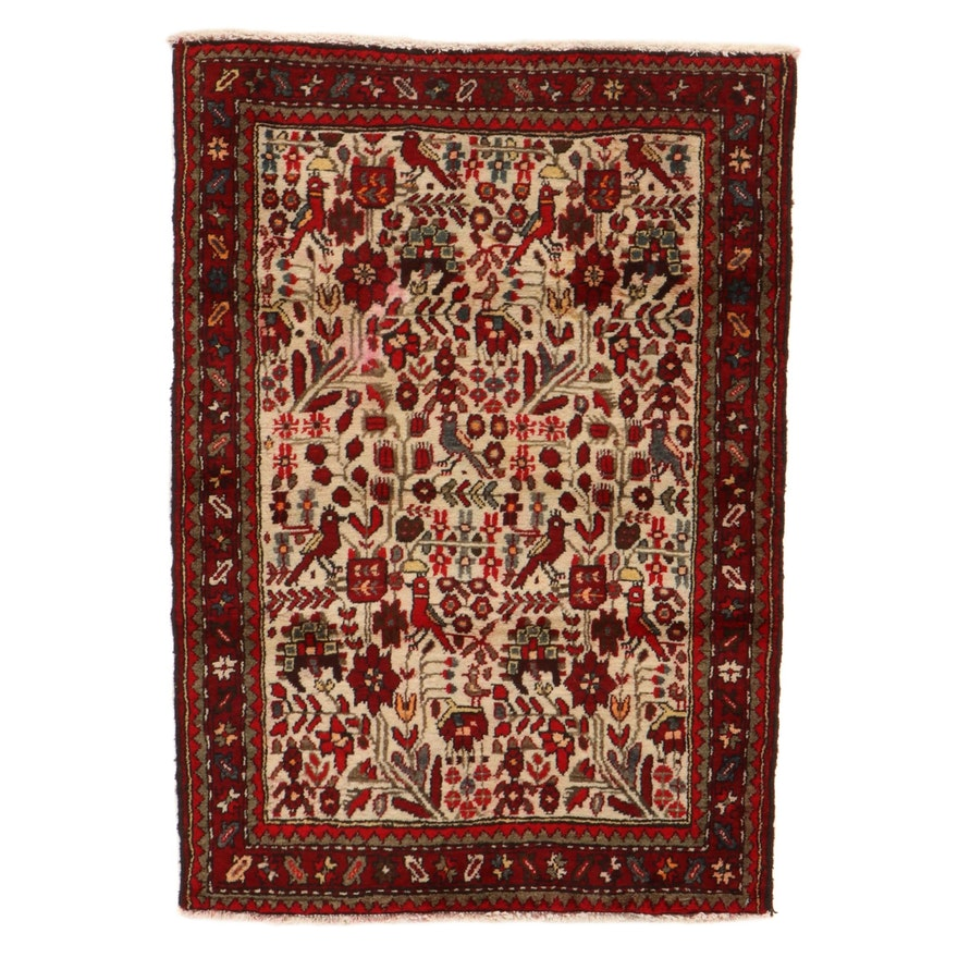 2'11 x 4'3 Hand-Knotted Persian Zanjan Pictorial Rug, 1950s