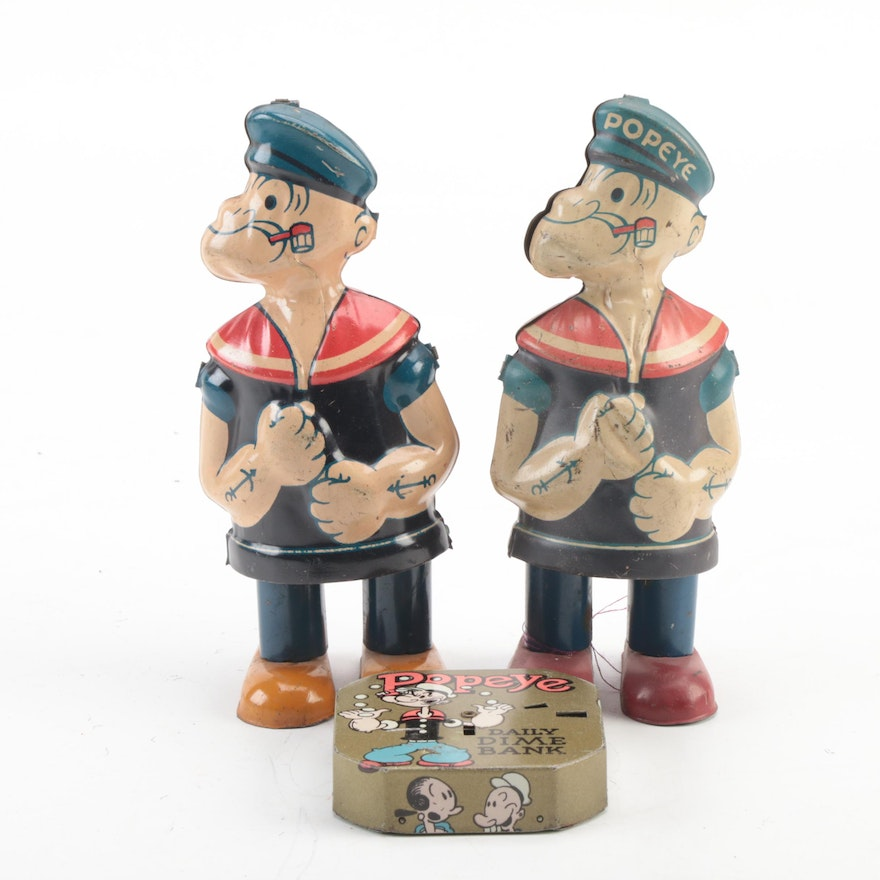"""J. Chein & Co. """"Popeye"""" Tin Lithograph Wind-Up Toys and Dime Bank, 1932 and 1956"""