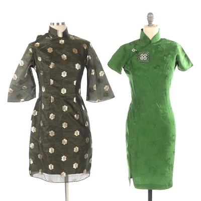 Cheongsam and Mandarin Collar Dresses in Green Brocade and Metallic