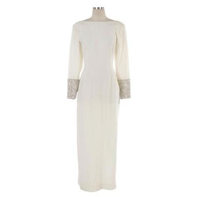 Victor Costa Embellished Occasion Dress with V-Cut Back and Shoulder Wrap