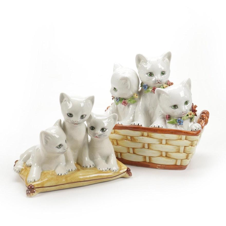Italian Ceramic Cat Figurines