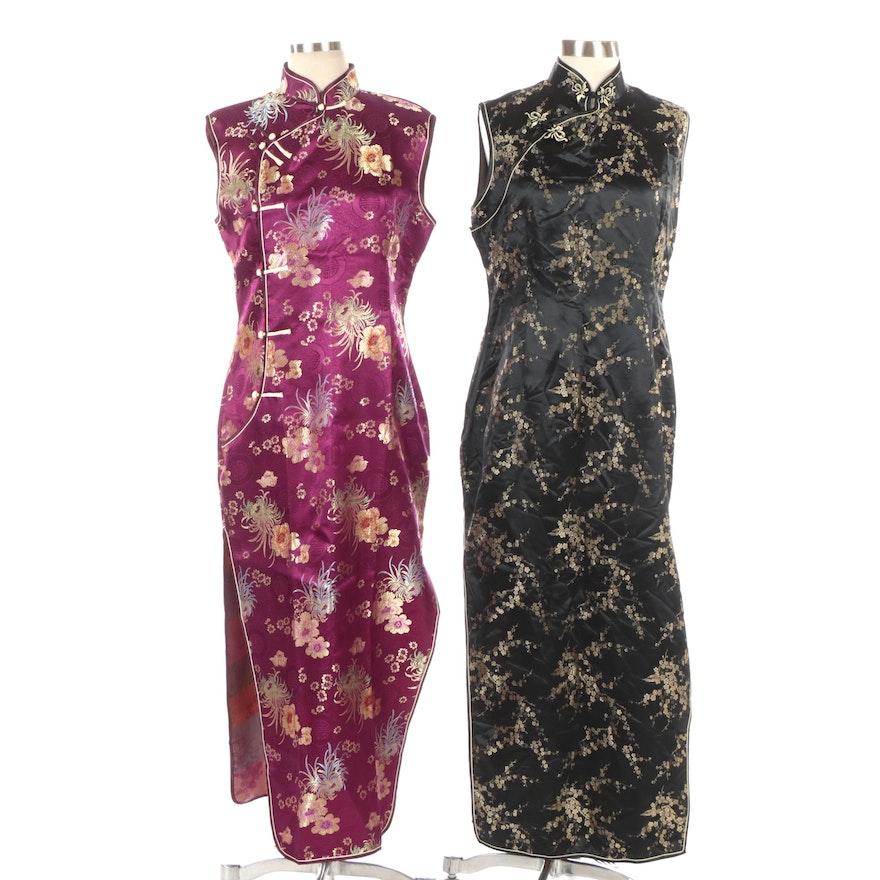 Blue Dragon and Yue He Shi Lu Floral Brocade Sleeveless Cheongsam Dresses