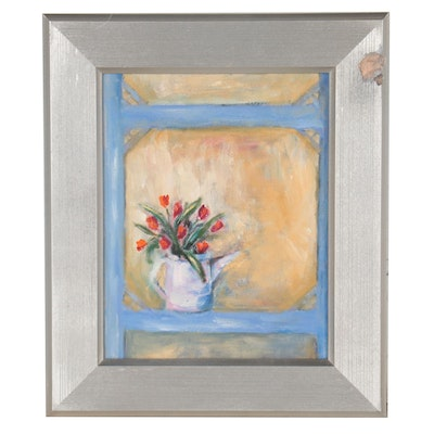 Still Life Oil Painting of Pitcher With Tulips, Circa 2000