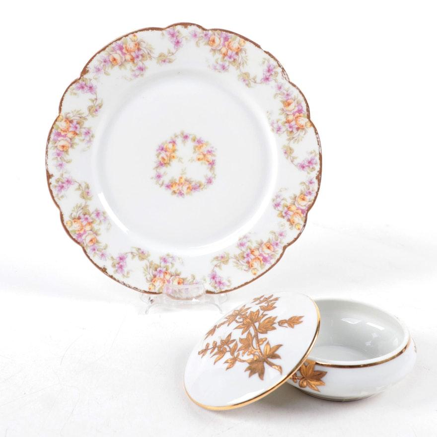 Elite Works St. Martial Porcelain Plate with Lucien Michelaud Limoges Box