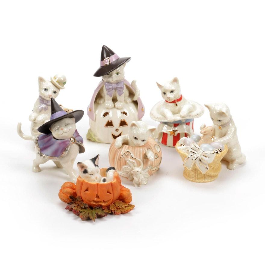 "Lenox ""Li'l Pumpkin"" and Other Porcelain Cat Figurines"