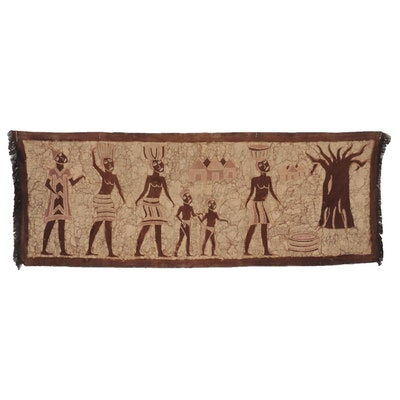 African Style Batik Dyed Textile Panel of Village Scene