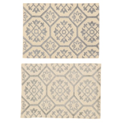 2'1 x 2'11 Hand-Knotted Indian Modern Style Rugs, 2010s