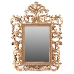 Rococo Style Gilt Carved Wood Wall Mirror, Antique
