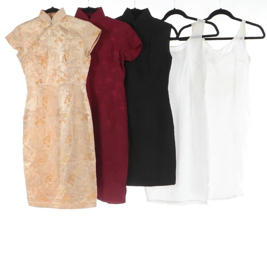 Cheongsam Style Silk Sheath Dresses with Slips