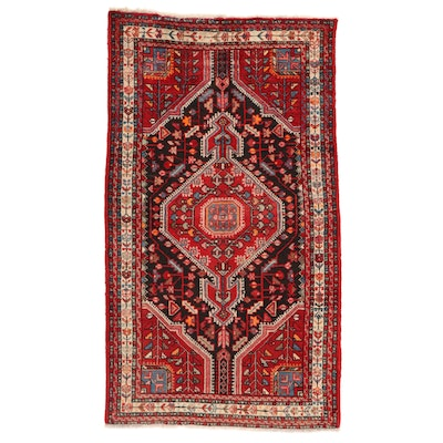 3'10 x 6'11 Hand-Knotted Persian Malayer Rug, 1950s