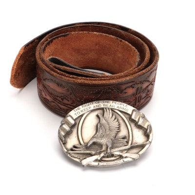 Bergamot Brass Works Pewter 2nd Amendment Belt Buckle with Tooled Leather Strap
