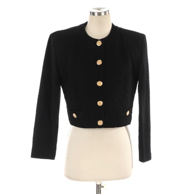 Donna Ricco Cropped Jacket in Black Wool Knit with Quilted Front Detail